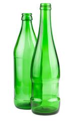 Two empty green bottles