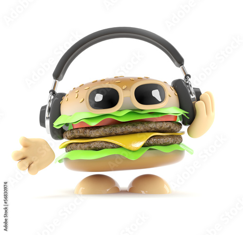 Burger listens to his headphones
