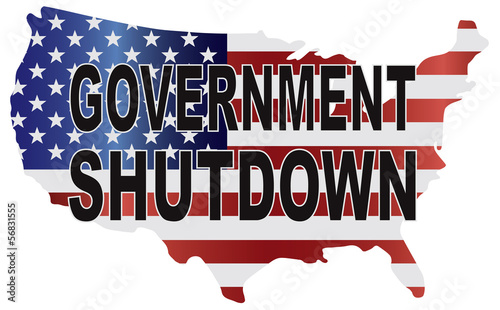 Government Shutdown USA Map Vector Illustration
