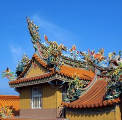 Richly Decorated Chinese Temple Roof