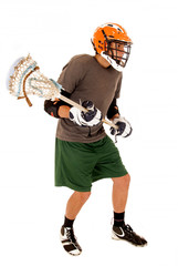 brunette young man in lacrosse uniform holding stick