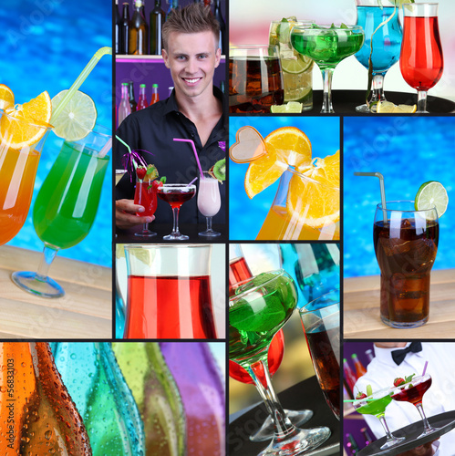 Collage of different cocktails