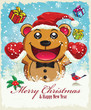 Vintage christmas poster with bear design
