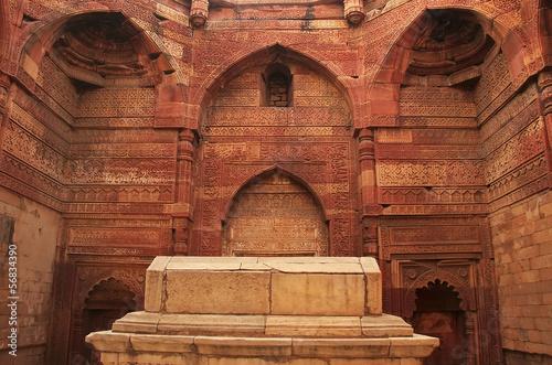 Spoed canvasdoek 2cm dik Delhi Interior of Qutub Minar complex, Delhi
