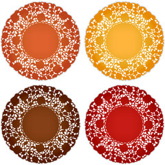 Antique lace doily place mats for Thanksgiving, harvest table