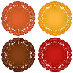 Vintage lace doily place mats for Thanksgiving, harvest table