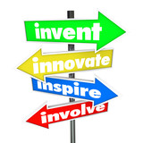 Invent Innovate Inspire Involve Road Arrow Signs poster