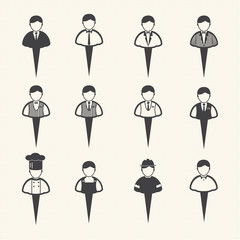 Vector people icons, Man icons set on texture background