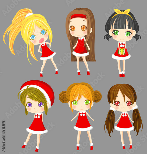 Cute sprite Santa girls set (vector)