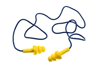 Reusable Ear Plugs with Cord isolated on white