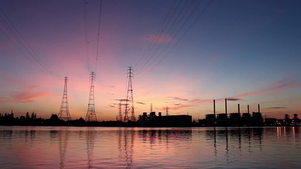Electric power station at sunrise