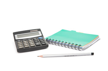 calculator with notepad and pencil isolated