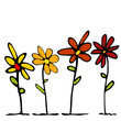 vector colorful hand drawn flowers