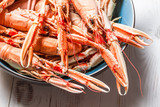 Closeup of cooked scampi with pincers poster