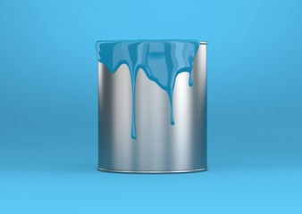 Farbeimer blau Metal glatt mit Hintergrund