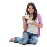 Asian female drinking tea