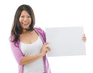 Asian woman showing a blank card board
