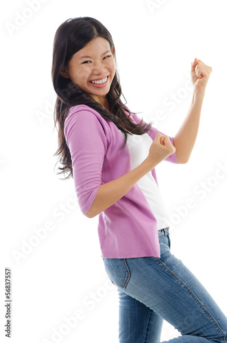Asian woman celebrating success