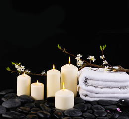 aromatherapy with candles on towel, cherry