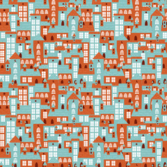 Houses seamless colorful pattern