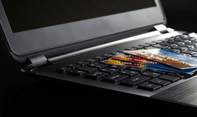 Credit Cards on a Computer Keyboard
