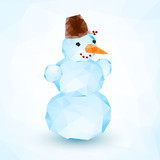 Bright blue vector crystal isolated snowman