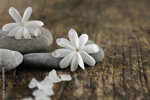 White Salt and white flower ,pebbles on old wood background