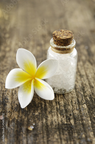frangipani flower with salt in glass on driftwood
