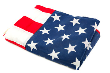 The United States flag, folded on a white background.