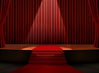 Red Carpet on Stage with Spotlight