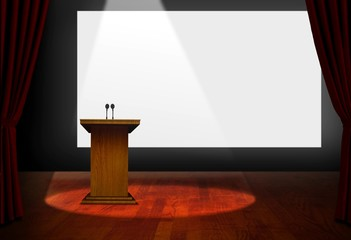 Seminar Podium and Blank Screen on Stage