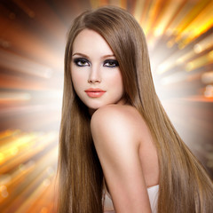 woman with beautiful long straight  hair and attractive face