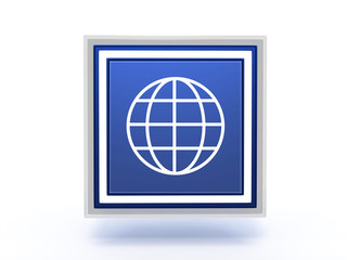 globe rectangular icon on white background