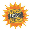 Stamp with the text 10 percent Off, Discount