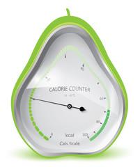 Diet health and beauty. Calorie counter. Pear. Vector eps 10.