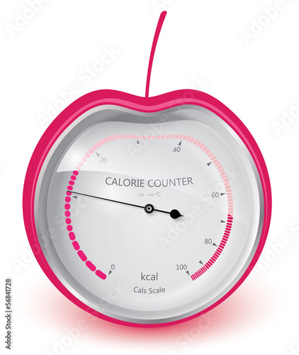 Diet health and beauty. Calorie counter. Cherry. Vector eps 10.