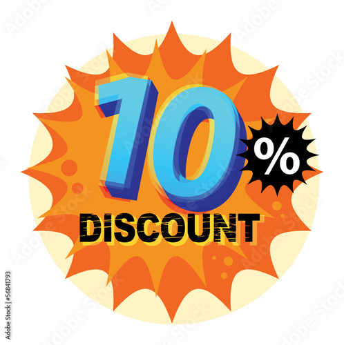 Abstract label or sticker with the text 10 percent Discount