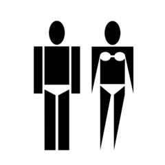 man and woman in a bathing suit vector illustration