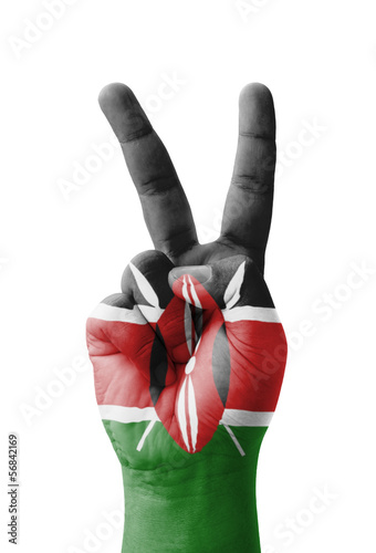 Hand making the V sign, Kenya flag painted