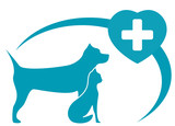 veterinary symbol with pedigreed dog, cat on white background poster