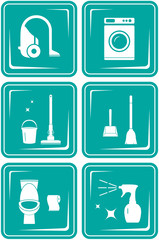 set blue icons with objects for home cleaning