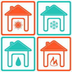 set house icons with water drop, sun, snowflake and fire