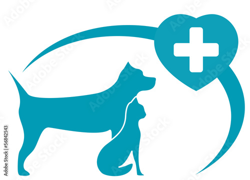 veterinary symbol with pedigreed dog, cat on white background