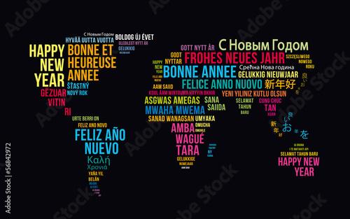 carte de voeux bonne année mappemonde 2 - 56842972