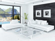 living room interior with white couch against black wooden wall