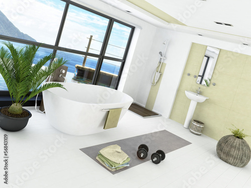 Modern bathroom interior with light green wall