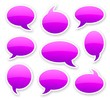 stickers of purple glossy rounded comics text bubbles