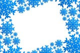 christmas frame with blue snowflakes