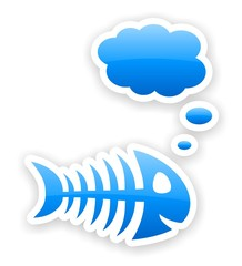 blue glossy thinking fish bone stickers