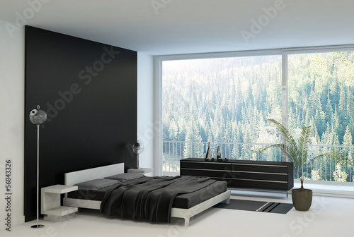Bedroom interior with double bed against panorama window